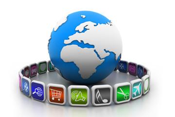 globe with app symbols