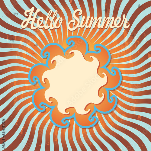 Design template Hello summer.Retro