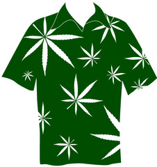 shirt with marijuana leaves