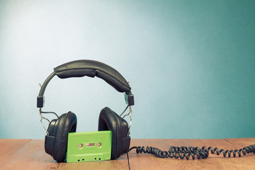 Retro cassette and headphones conceptual photo