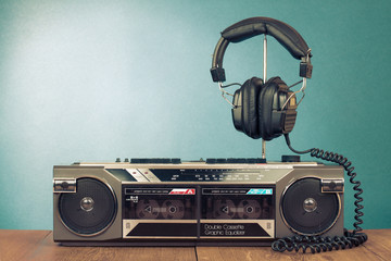 Retro double cassette recorder and headphones