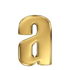 Letter a from gold solid alphabet. Lowercase