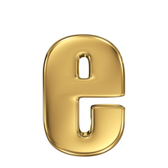 Letter e from gold solid alphabet. Lowercase