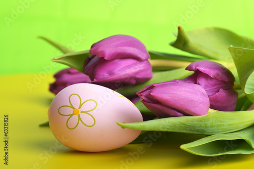 easter eggs  and tulip