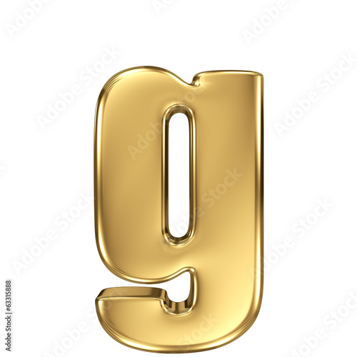 Letter g from gold solid alphabet. Lowercase