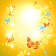 Positive summer card with sunshine and butterflies