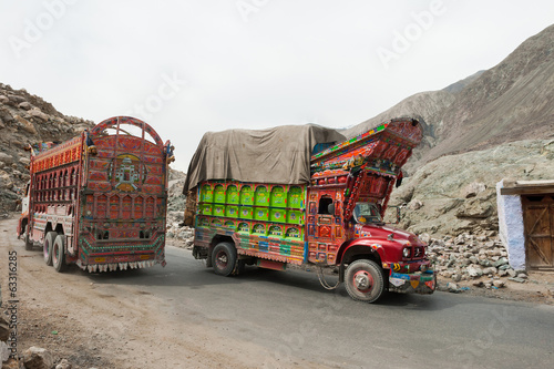 Decorative trucks on Karakoram highway, Northern Pakistan