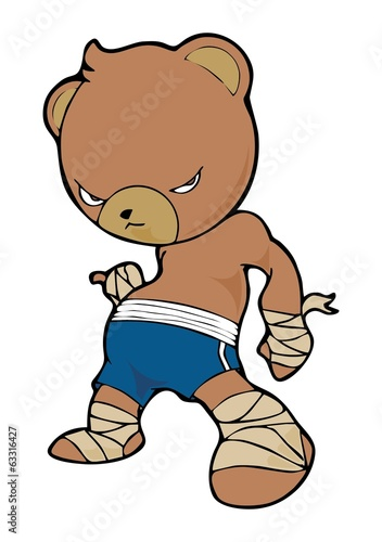 little brown bear Thai boxing cartoon character