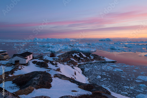 Spoed canvasdoek 2cm dik Antarctica 2 Arctic light at sunset in Ilulissat, Greenland