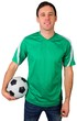 canvas print picture - Handsome football fan in green
