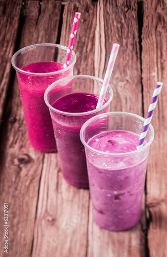 Variety of delicious berry smoothies