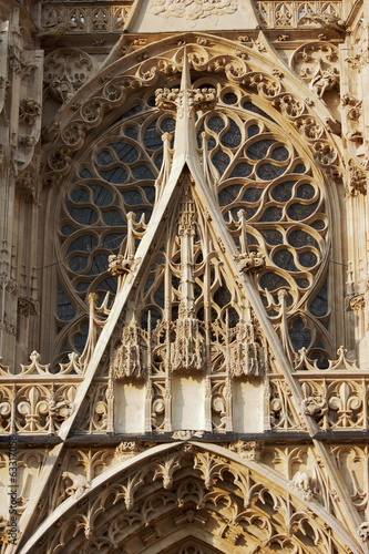Rosette of the Gothic facade of the church in Troyes