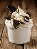 Vanilla ice cream with oreos and chocolate sauce