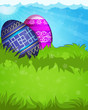 Blue and purple Easter eggs