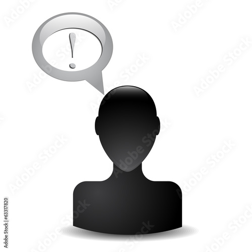 silhouette of a man's head with an exclamation