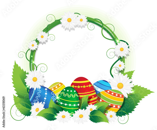 Easter eggs with lush foliage and daisies