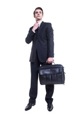 portrait of happy business man with briefcase isolated