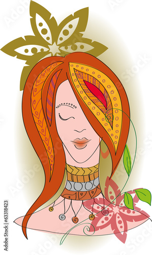 Red-haired girl in ethnic style
