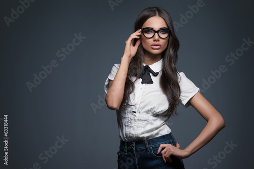 Sexy elegant woman in glasses