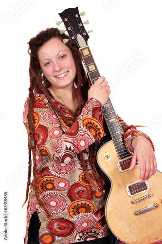 happy girl with dreadlocks hair and guitar
