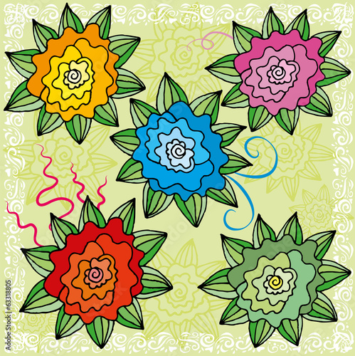 Set of bright flowers in a cartoon style
