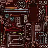 Retro hand drawn sewing inspired seamless pattern background