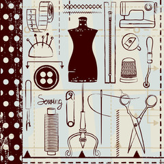 Retro hand drawn sewing related seamless pattern background