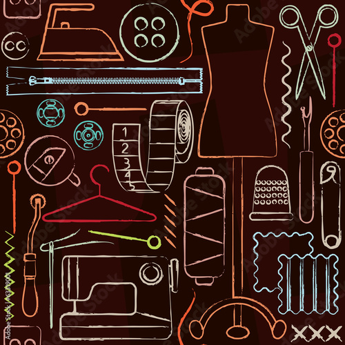 Retro hand drawn sewing inspired seamless pattern background - 63319001