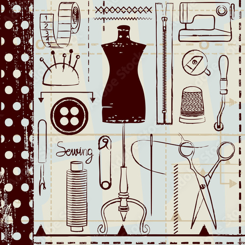 Retro hand drawn sewing related seamless pattern background - 63319018