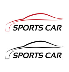 Calligraphic sport car logo template