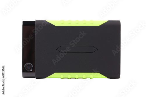 Shock-resistant external portable hard disk.