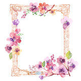 Watercolor frame with flowers