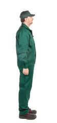 Man in green workwear.