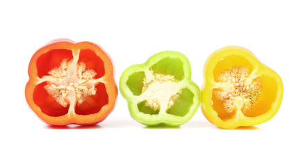 Three half of bell peppers.