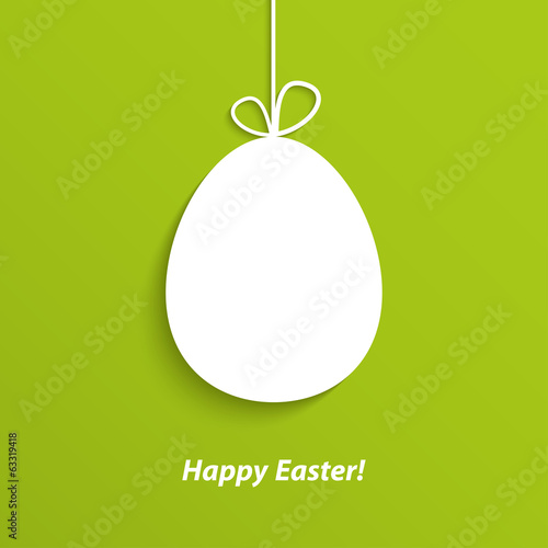 Easter card with hanging egg.