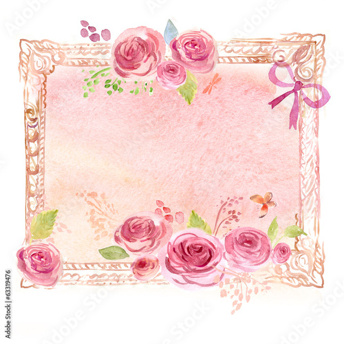 Foto op Canvas Iris Watercolor frame with flowers