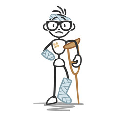 Stick man in bandages, crutches, injured