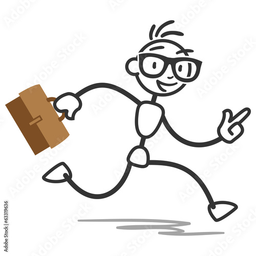 Busy stick man running with briefcase