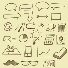 Hand drawing icons set, vector format