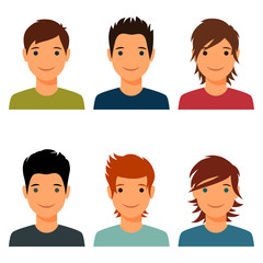 Set of cute young boys with various hair style.