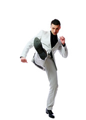 businessman imitating a fight standing