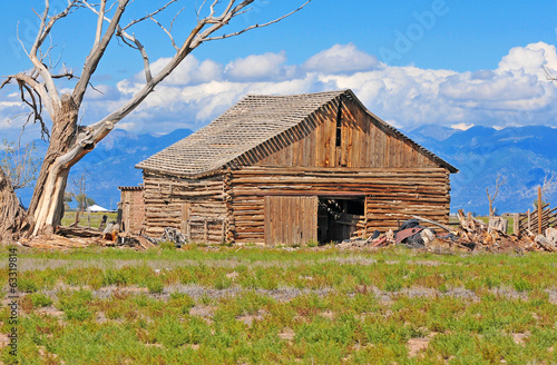 Old barn on farm, western America landscape, USA