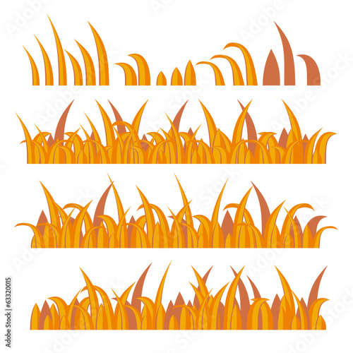 Autumn Grass Constructor on White. Vector