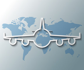 Illustration of plane with world background
