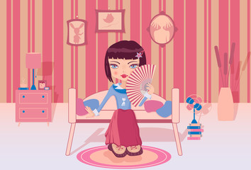 Cute girl sitting alone in her pink room and flirting a fan
