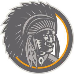 Native American Indian Chief Head Woodcut