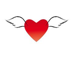 Rotes Herz mit Flügeln