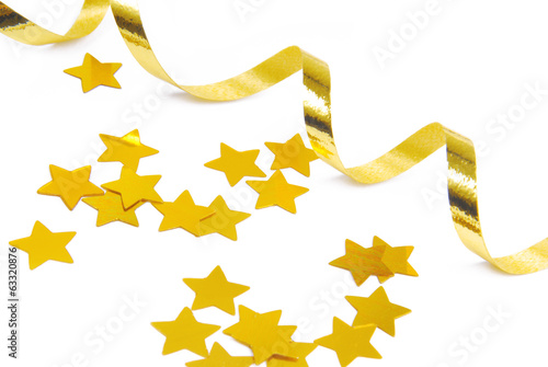 golden confetti and ribbon isolated on white