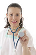 Female doctor holding stethoscope.