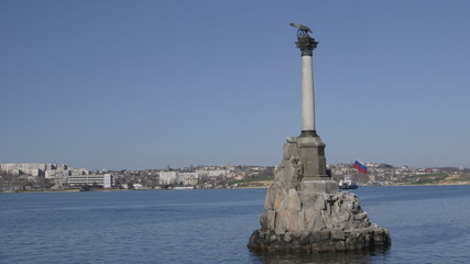 Russian flag on Sunken Ships Monument in Sevastopol